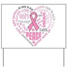 Breast Cancer Heart Words Yard Sign