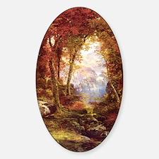 Autumn Trees Fine Art Sticker (Oval)