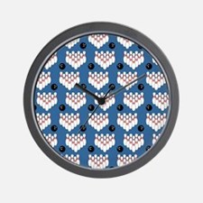 Classic Ball and Pins Pattern Blue Wall Clock
