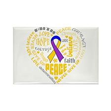Bladder Cancer Heart Words Rectangle Magnet
