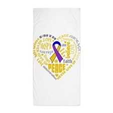 Bladder Cancer Heart Words Beach Towel