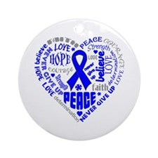 Anal Cancer Heart Words Ornament (Round)