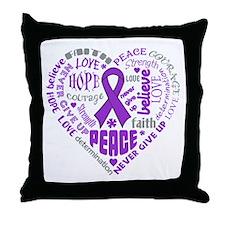 Alzheimers Disease Heart Words Throw Pillow