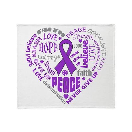 Alzheimers Disease Heart Words Throw Blanket