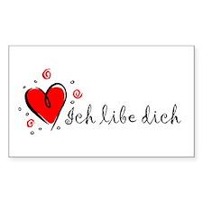 """I Love You"" [Yiddish] Rectangle Decal"