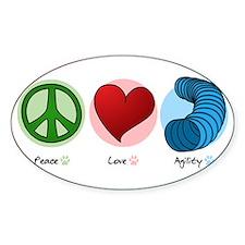 Peace Love Dog Agility Oval Decal