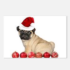 Christmas pug dog Postcards (Package of 8)
