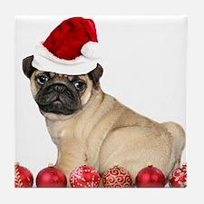 Christmas pug dog Tile Coaster