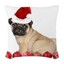 Christmas pug dog Woven Throw Pillow