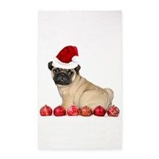Christmas pug dog 3'x5' Area Rug