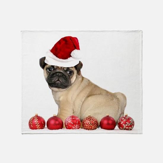 Christmas pug dog Throw Blanket