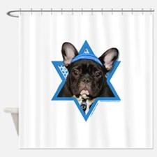 Hanukkah Star of David - Frenchie Shower Curtain