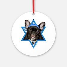 Hanukkah Star of David - Frenchie Ornament (Round)