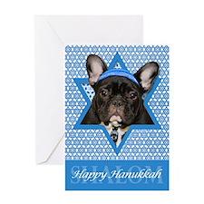 Hanukkah Star of David - Frenchie Greeting Card
