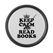 Keep Calm Read Books Large Wall Clock