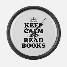 Keep Calm Read Books Large Wall Clock