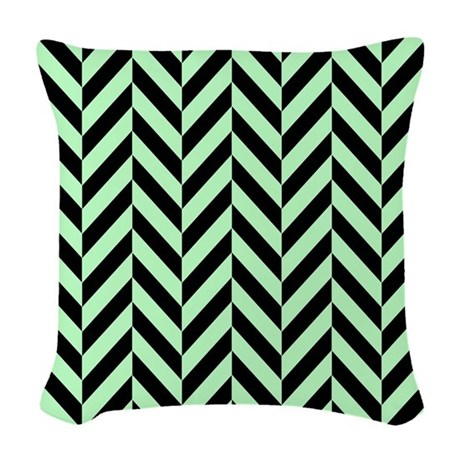 Black and Mint Green Herringbo Woven Throw Pillow by listing-store-1392224