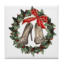 Cheetah Stiletto Shoe Wreath Tile Art Coaster