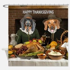 Thanksgiving Dinner Doxies 2 Shower Curtain