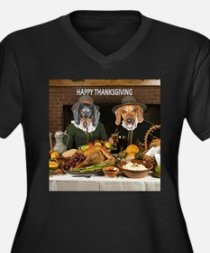 Thanksgiving Dinner Doxies 2 Women's Plus Size V-N