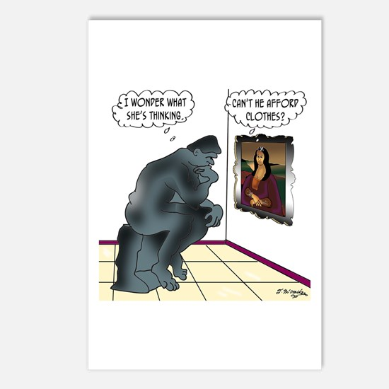 The Thinker & Mona Lisa's Thoughts Postcards (Pack