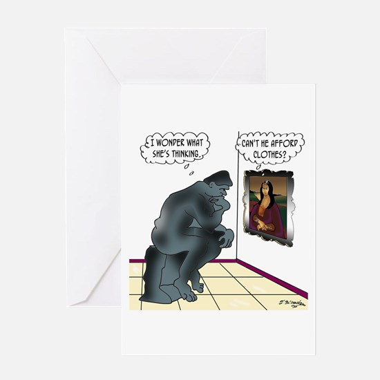 The Thinker & Mona Lisa's Thoughts Greeting Card