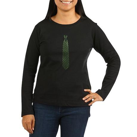 Stripe Tie Women's Long Sleeve Dark T-Shirt