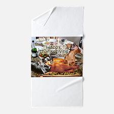 Happy Thanksgiving Dachshund Dogs Beach Towel