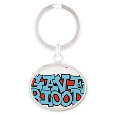 3-gave_blood_black_cap Oval Keychain