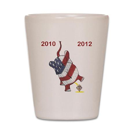 2x2 2010 2012 Elephant Cartoon Obama Shot Glass