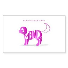 Amanda pink puppy Rectangle Decal