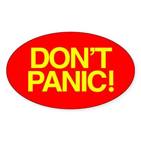DON'T PANIC Oval Sticker