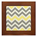 Gray Yellow Chevron Framed Tile