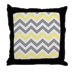 Gray Yellow Chevron Throw Pillow