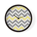 Gray Yellow Chevron Wall Clock