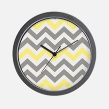Gray Yellow Chevron Wall Clock
