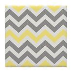 Gray Yellow Chevron Tile Coaster