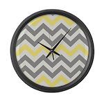 Gray Yellow Chevron Large Wall Clock