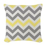 Gray Yellow Chevron Woven Throw Pillow