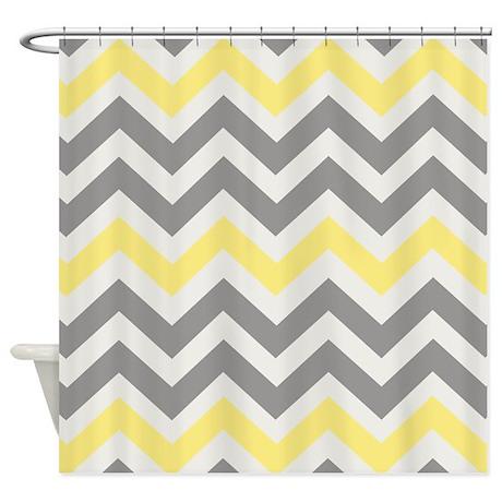 gray yellow chevron shower curtain by kadesigns