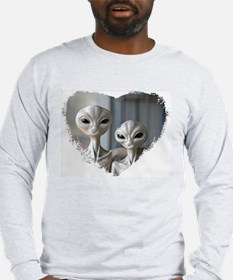 Alien Couple (Heart) - Grey Long Sleeve T-Shirt