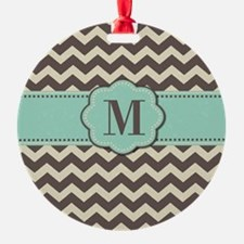 Brown Teal Monogram Ornament