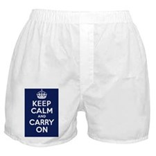 Keep Calm and Carry On Poster - Navy  Boxer Shorts