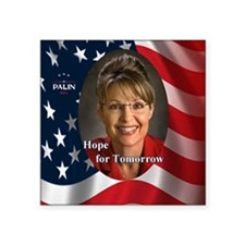 "Palin_2012_HopeFor Tomorrow Square Sticker 3"" x 3"""