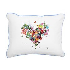 Butterfly Heart Pillow Rectangular Canvas Pillow
