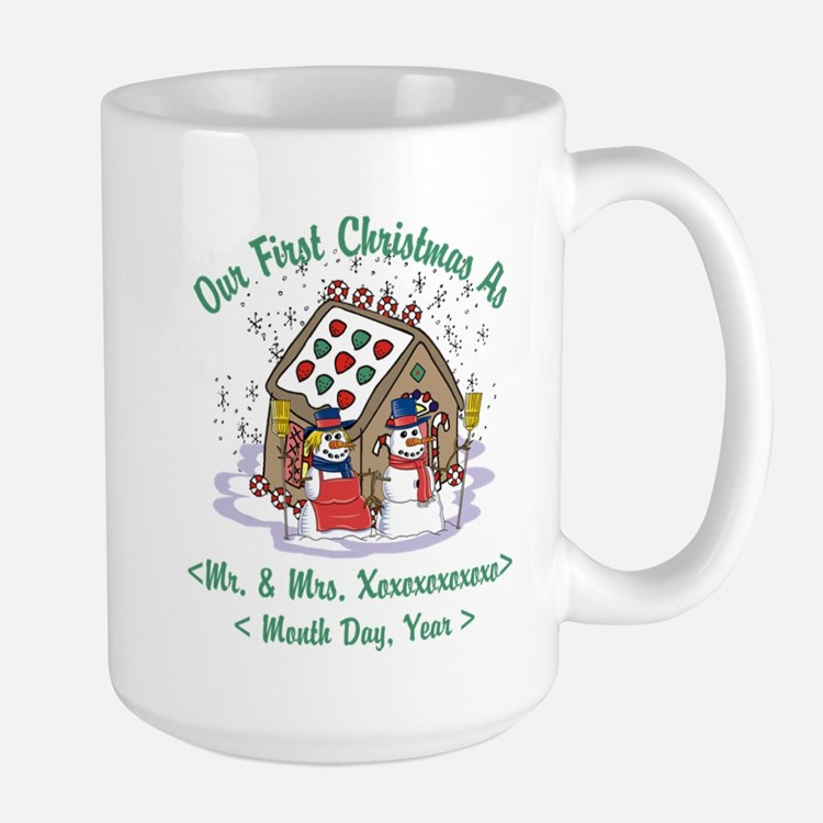 Personalized First Christmas As Mr & Mrs Large Mug