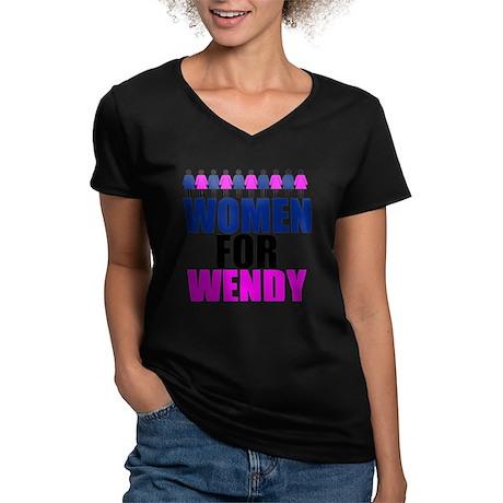 Women for Wendy Davis Women's V-Neck Dark T-Shirt