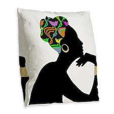Elegant African American Woman Burlap Throw Pillow