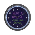Hug A Nurse Wall Clock