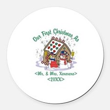 Personalized First Christmas As Mr & Mrs Round Car